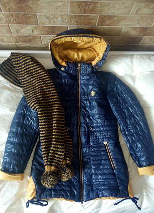 Куртка парка с шарфом весенняя демисезонная