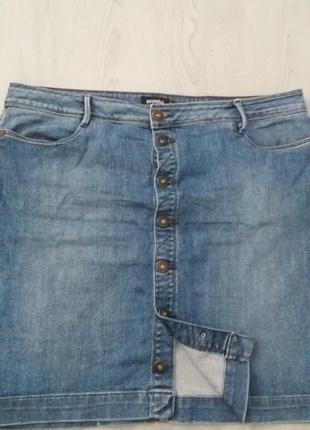 54b65218b0de Юбка легкая джинсовая батал на пуговицах от promiss раз.16-44 (пот ...