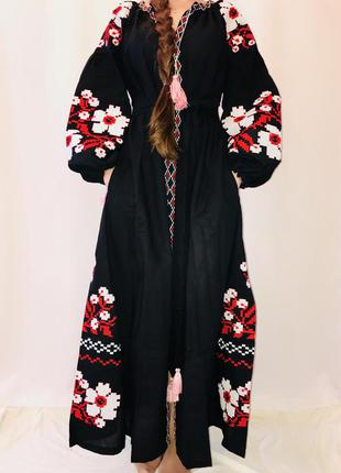 Крутое чёрное платье бохо макси вышиванка в стиле вита кин/вишиванка