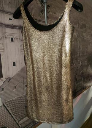 Платье золотое майка