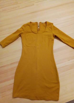 Красивое весеннее/осеннее горчичное платье