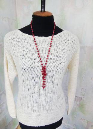 Жемчужные красные бусы смородина,колье,ожерелье,подвеска.