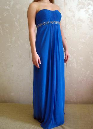 Нарядное вечернее выпускное длинное синее платье debenhams