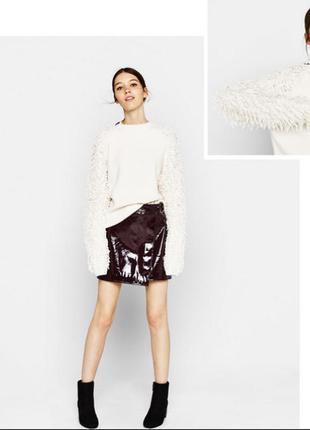 Оригинальный свитер-свитшот с рукавами с вытянутыми петлями