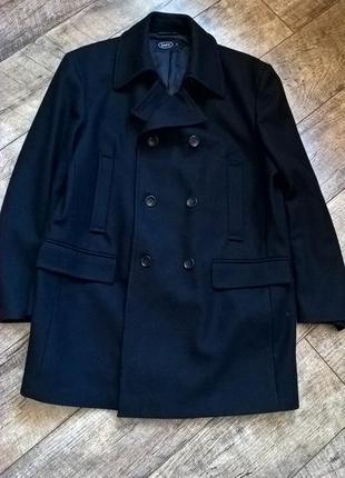Укороченое пальто/полупальто/темно синего цвета от easy|l-xl шерсть