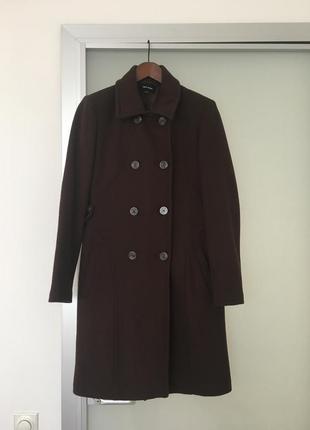 Шерстяное пальто-шинель