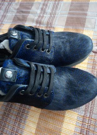 Кожаные кроссовки с мехом пони