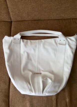 Кожаная сумка-мешок белая baldinini