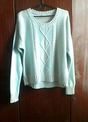 Нежный бирюзовый свитер