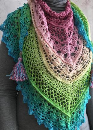 Роскошная нежная шаль весенней расцветки из голландского полухлопка, ручная работа