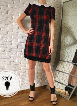 Платье шотландская клетка с воротником