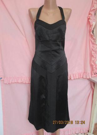 Черное платье миди с открытыми плечами 44 рр