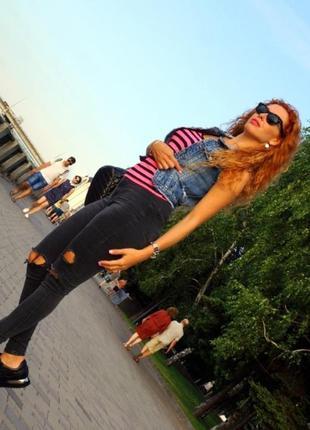 Рваные джинсы с завышеной талией topshop