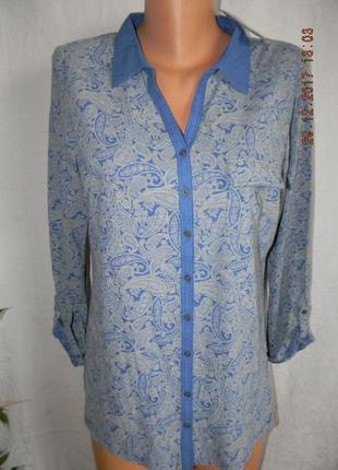 Приятная к телу трикотажная блуза-рубашка с принтом