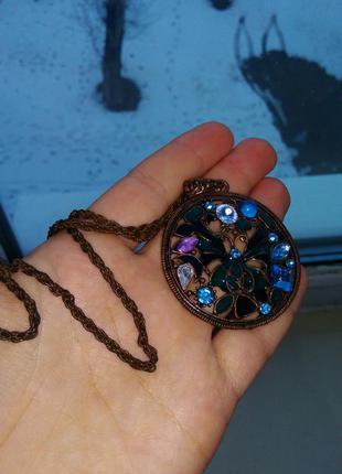 Массивный орден ожерелье антиквариат стиль бохо