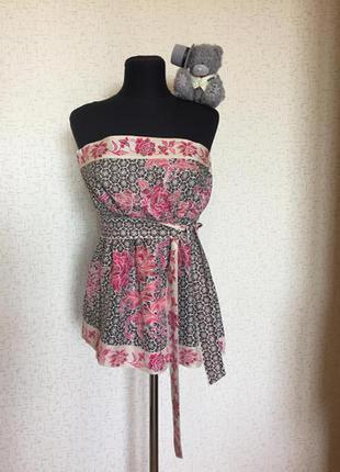 Акция 💯!!! шёлковый топ бюстье, блуза с цветочным принтом warehouse