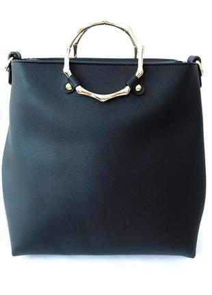 Кожаная черная сумка + в подарок клатч и 2 набора длинны ручек
