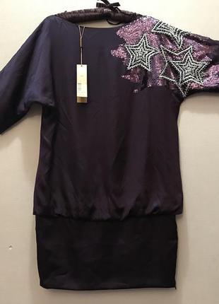 Платье туника пайетки  фиолетовый пурпурный натуральный шёлк