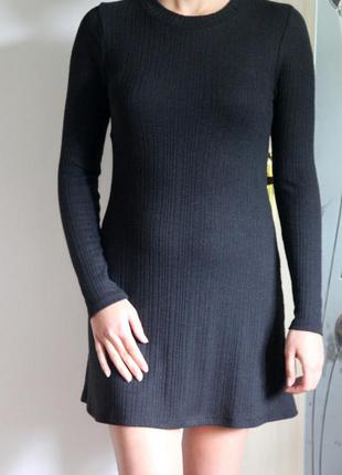 Платье туника с длинным рукавом черного цвета