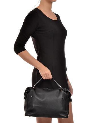 Итальянская (натуральная кожа) черная кожаная сумка vera pelle, италия