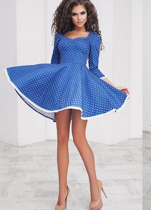 Яркое хлопковое платье в горошек-стиляги (есть размеры)