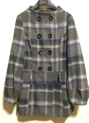 Пальто куртка плащ в клеточку шерстяной