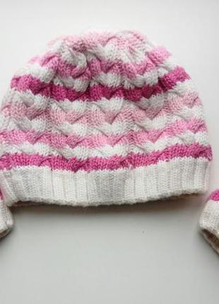 Теплый красивый набор шапка /варежки на девочеу 6-12 мес. 46см окружность