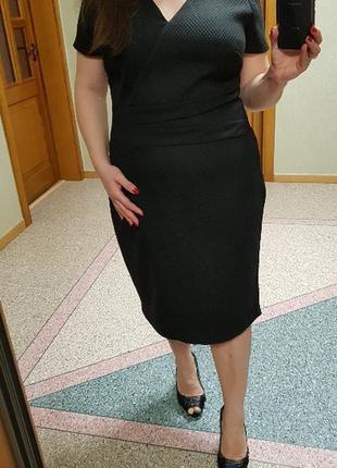 Черное фактурное платье george (миди)