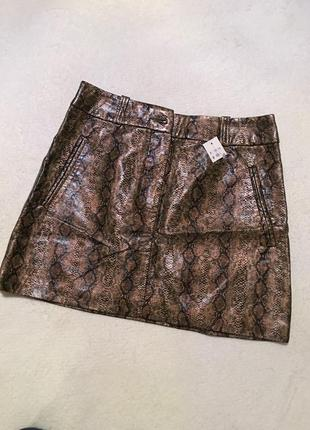 Распродажа!!! юбка мини h&m кожа питона