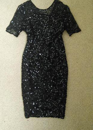 Шикарное платье с пайетками миди