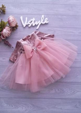 Бархатное пышное платье с бантом