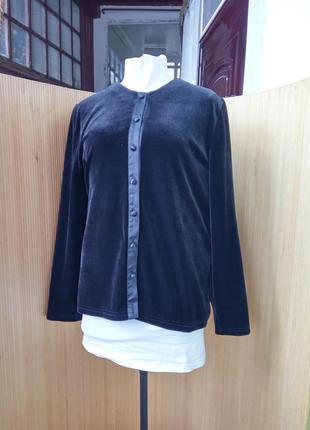 Чёрная велюровая блуза / рубашка / пиджак