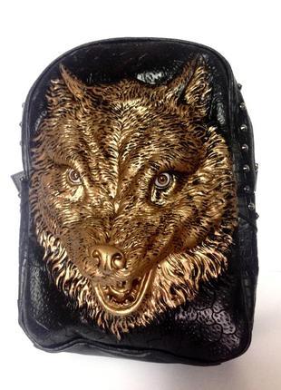 Кожаный мужской рюкзак 3d с волком