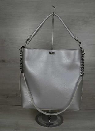 Серебристая женская сумка шоппер через плечо с двумя ручками