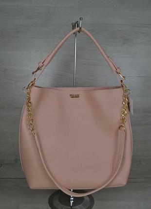 Женская сумка через плечо матовая шоппер цвет розовая пудра