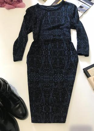 Синее чёрное фактурное платье