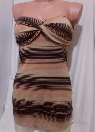 Платье мини с лифом кофе с молоком люрекс topshop 44р