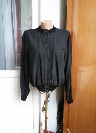 Эксклюзивная шелковая куртка бомбер  из 100% натурального шелка