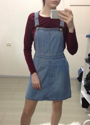 Актуальный джинсовый комбинезон с юбкой -трапецией new look