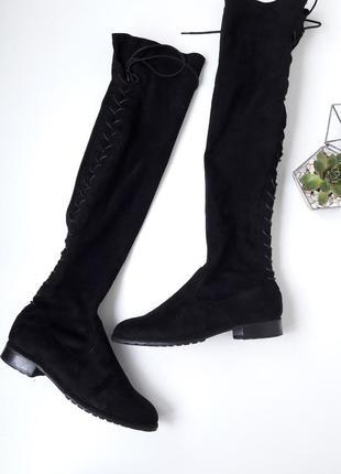 Шикарные сапожки-чулки ботфорти со шнуровкой сзади