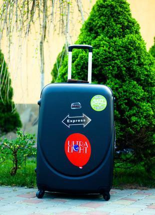 Качество! большой пластиковый чемодан черный валіза велика польша