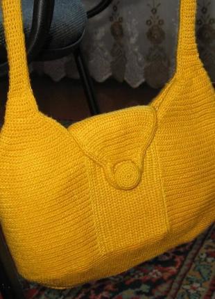 Желтая сумка вязанная крючком
