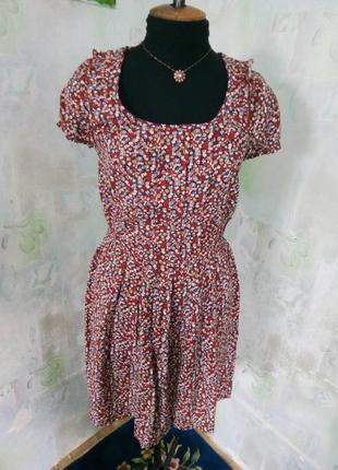 Красивое коричневое платье в цветы с валаном,короткий рукав,сарафан.