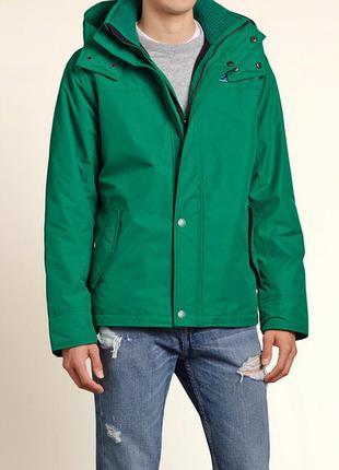 """Зеленая куртка """"all-weather"""" hollister на флисовой подкладке"""