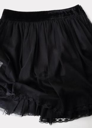 Черная юбка мини oodji с сеткой / фатином по низу