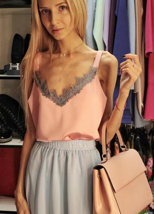 Базовый шелковый атласный топ майка бельевой стиль розовый с французским кружевом2 фото