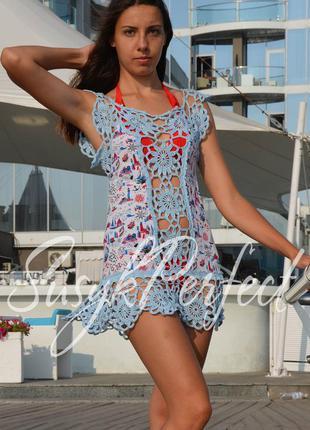 Короткое летнее платье (летняя пляжная туника) «leah»