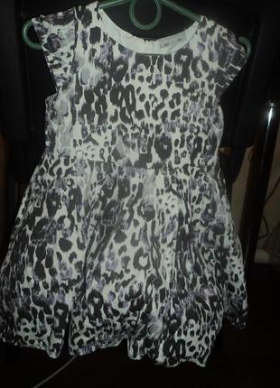 Платье леопардовый принт, пышное фатин, американский котон, очень стильное