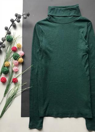 Зелёный изумрудный гольф в рубчик/свитер в обтяжку/водолазка m