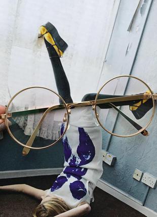 Имиджевые стильные круглые очки с антибликовым покрытием в золотой оправе